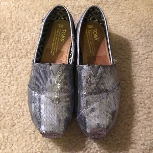 TOMS Silver Classic Sequin Slip-Ons